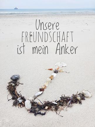 Postkarte Strandhexe - Unsere Freundschaft ist mein Anker