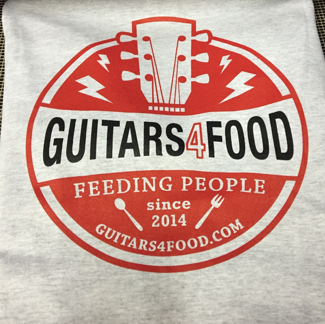 GUITARS 4 FOOD 2 COLOR SCREEN PRINT T-SHIRT