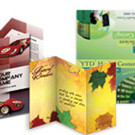"""100 quantity UPLOAD YOUR DESIGN 11""""x 17"""" Brochures 100lb Gloss Book w/AQ"""