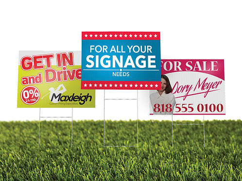 "100 quantity UPLOAD YOUR DESIGN 24""x 18"" Coroplast Yard Signs"