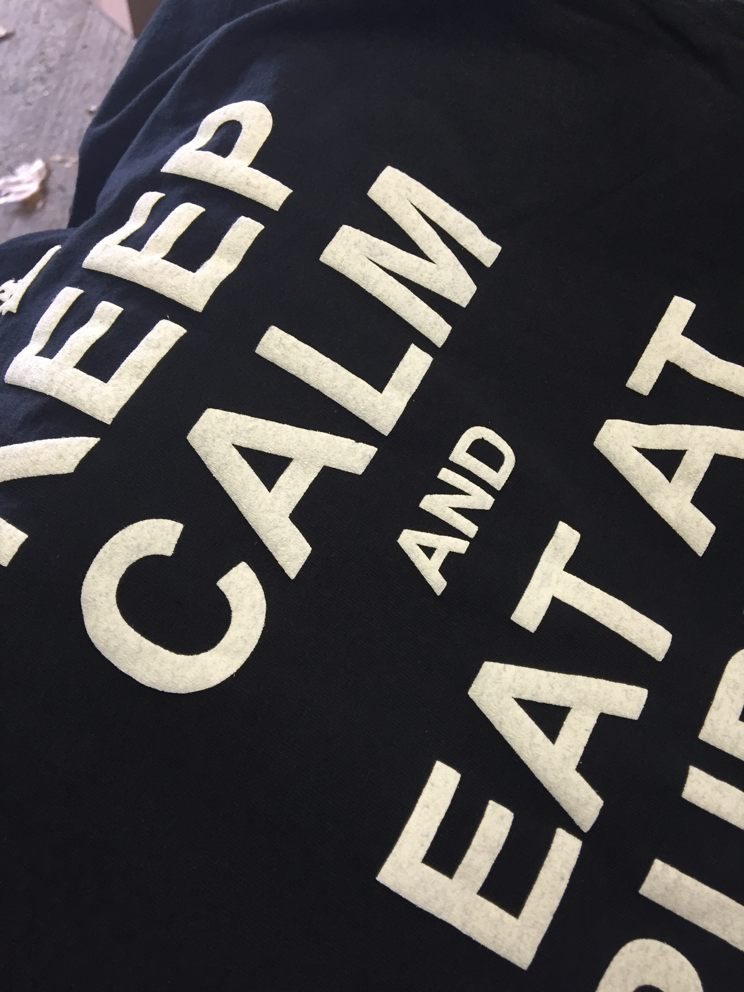 KEEP CALM AND EAT AT RUDYS PUFF WHITE SCREEN PRINT T-SHIRTS