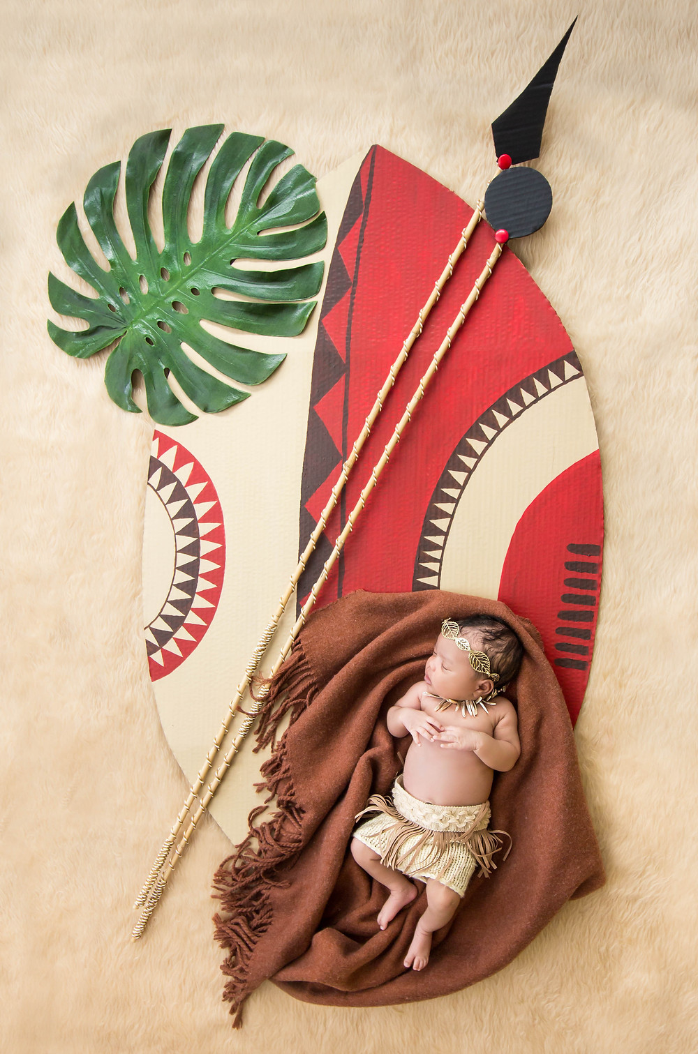 An African American newborn baby on a Zulu shield prop with a spear, a club and a tropical leaf