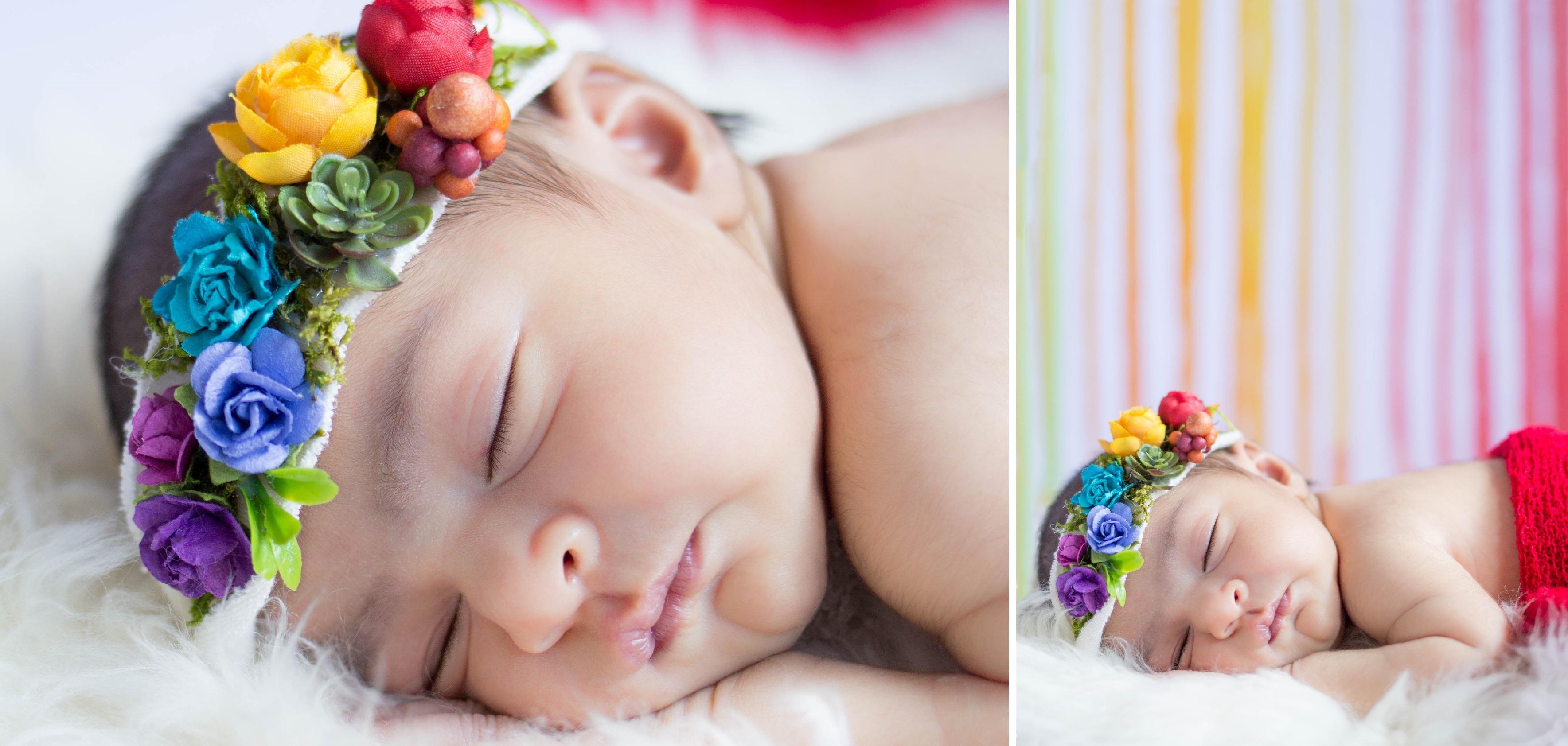 Rainbow themed baby photography