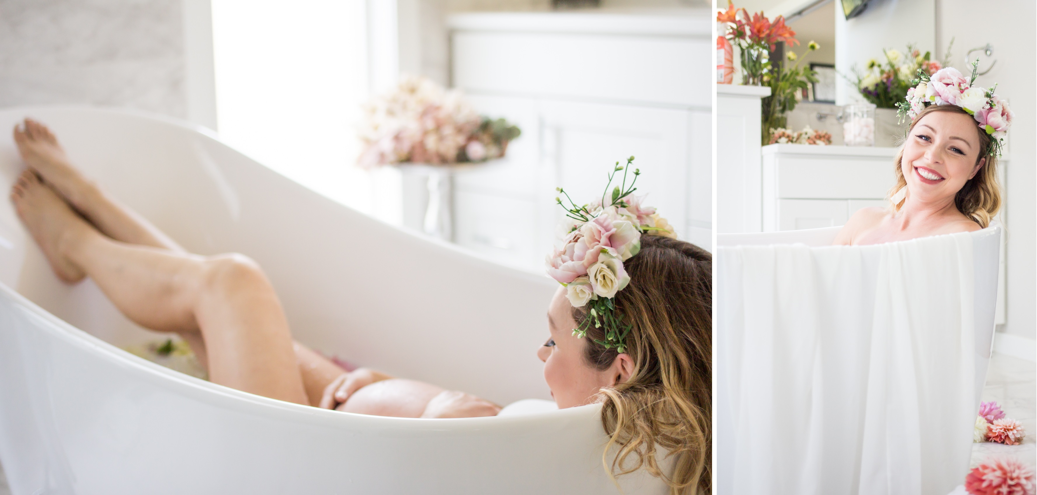 Maternity milk-bath session