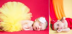 Newborn baby in a yellow tutu