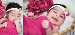 Newborn girl in pink stretch wrap