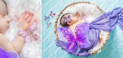 Newborn baby with butterfly wings