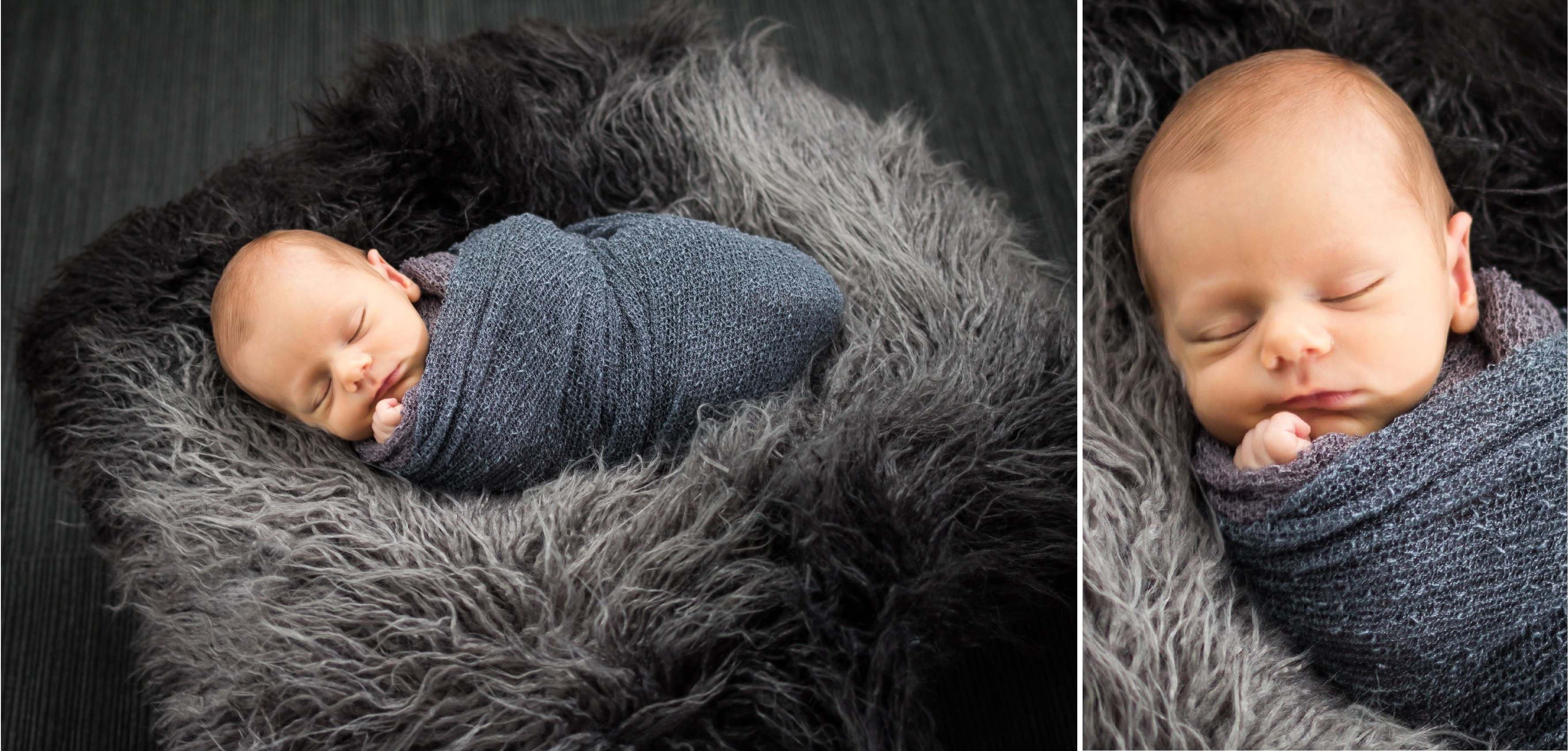 Newborn baby in grey fur basket