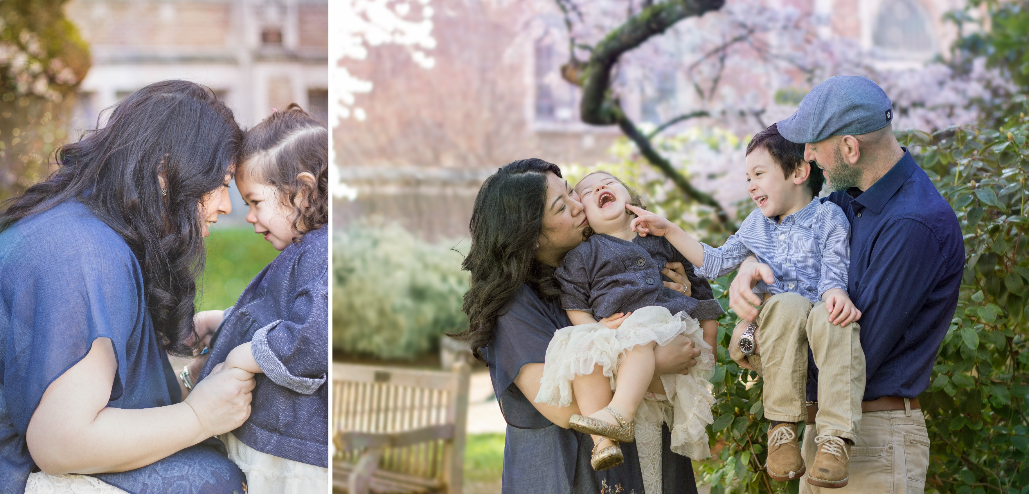 Seattle family in cherry blossoms