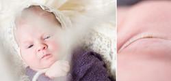 Newborn baby in knitted bonnet