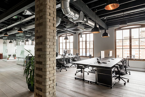 exposed joists, industrial office, exposed brick