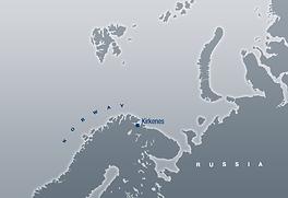 Kart over nordområdene som viser Kirkenes