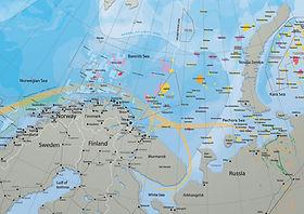 Kart som viser oljevirksomhet i nordområdene