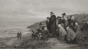 "Vintage Engraving of ""The Departure Of The Mayflower"""