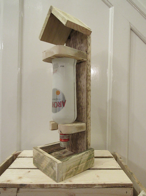 Gravity Bird Feeder Made From Reclaimed Soft Wood (Add Own Bottle)
