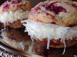 Raspberry Coconut Whoopie Pies
