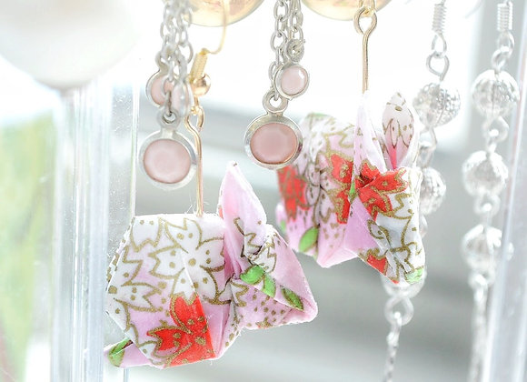 Light-Pink Origami Rabbit Earrings