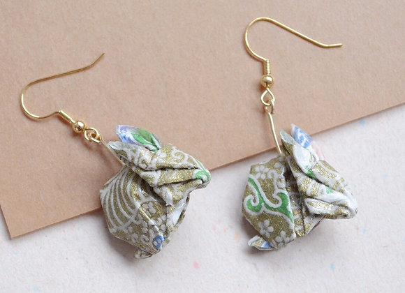 Gold Origami Rabbit Earrings