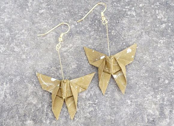 Moss-Green Origami Butterfly Earrings