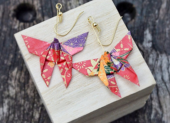 Cherry Red Origami Butterfly Earrings