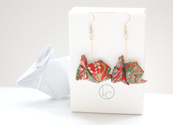 Apple-Red Origami Rabbit Earrings
