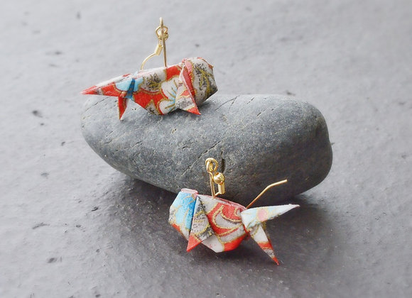 Red Origami Goldfish Earrings
