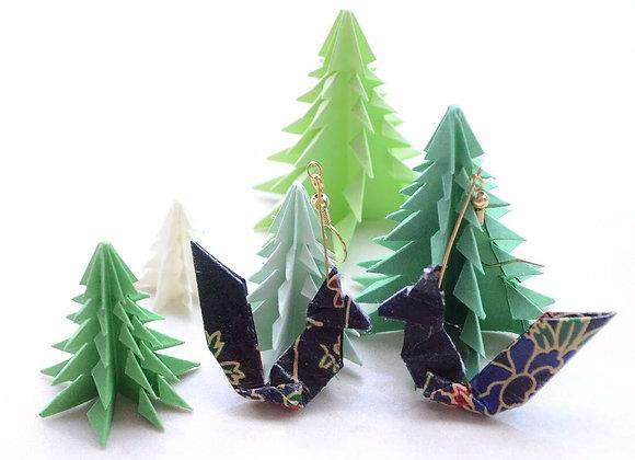 Black Origami Squirrel Earrings