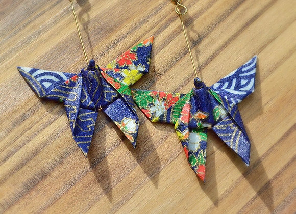 Deep Blue Origami Butterfly Earrings