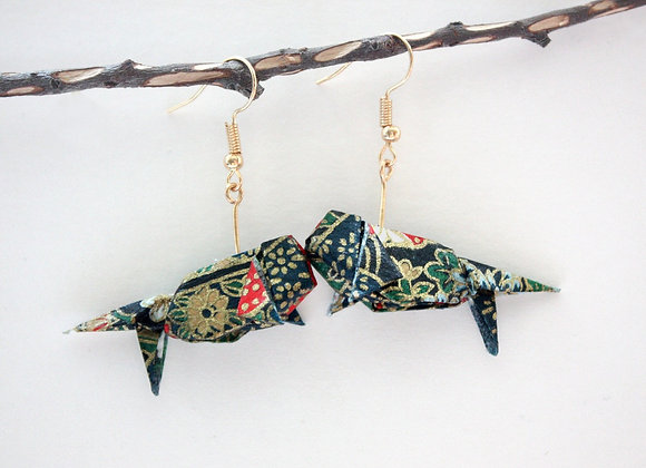 Midnight-Blue Origami Goldfish Earrings