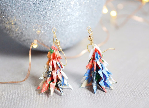 White-Red Origami Tree Earrings
