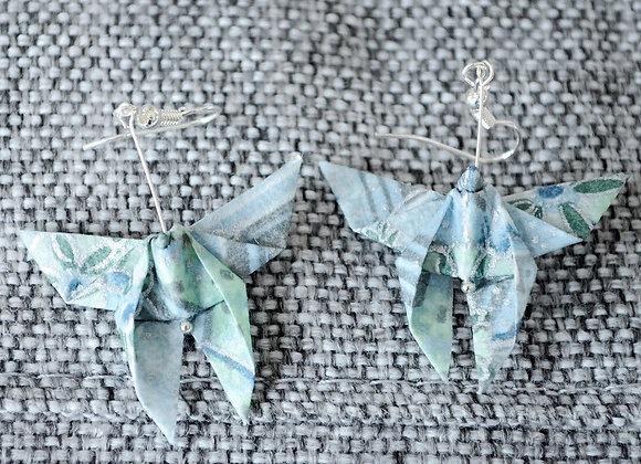 Silver-Blue Origami Butterfly Earrings