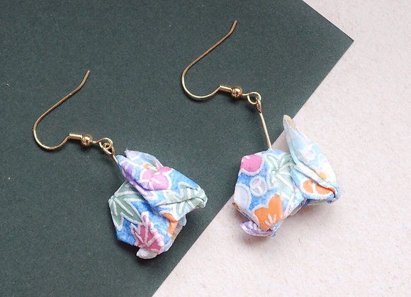 Light Blue Origami Rabbit Earrings