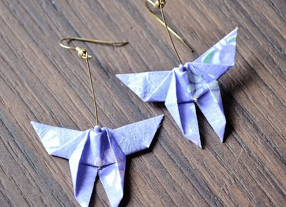 Lavender Origami Butterfly Earrings
