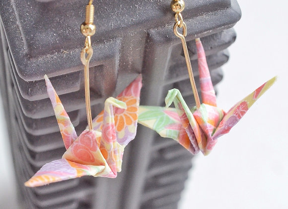 Cream Origami Crane Earrings