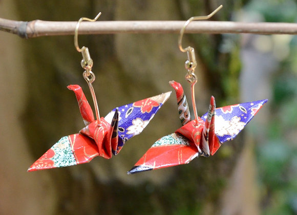Purple-Red Origami Crane Earrings