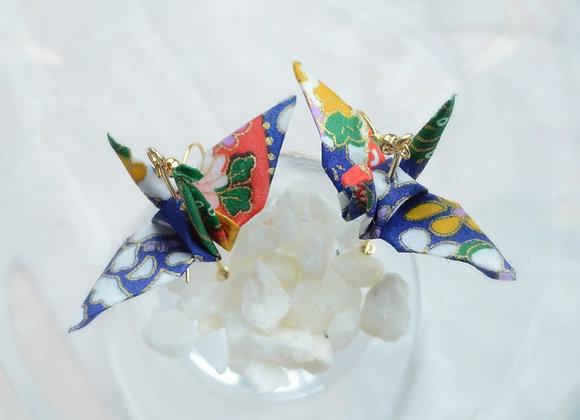 Summer Blue Origami Crane Earrings