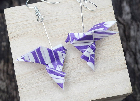 Purple-White Origami Songbird Earrings