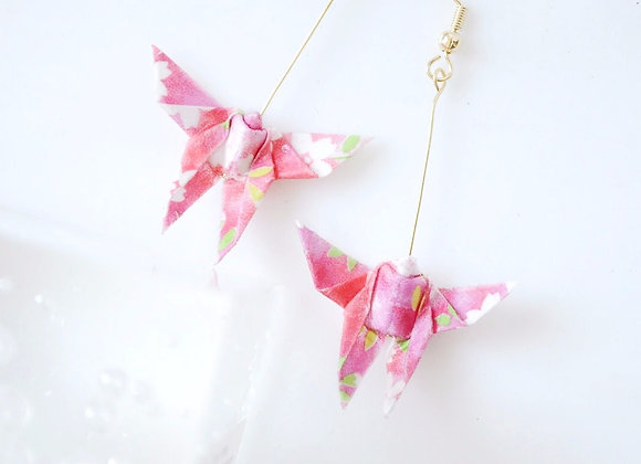 Cherry Blossom Pink Origami Butterfly Earrings