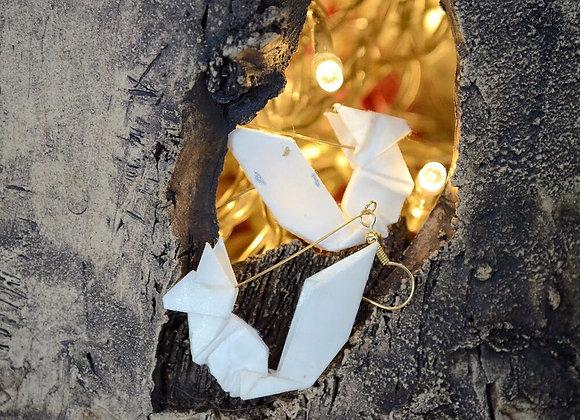 White Origami Squirrel Earrings