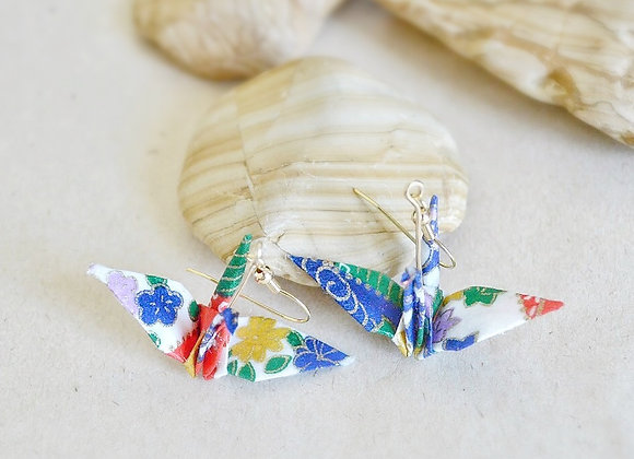 Summer Wind Origami Crane Earrings