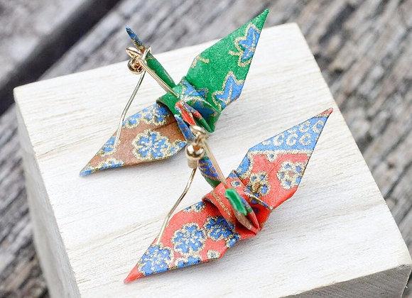 Red-Green Origami Crane Earrings
