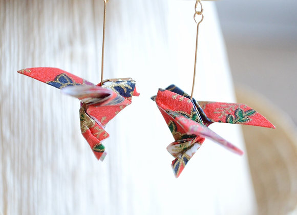 Red Origami Songbird Earrings