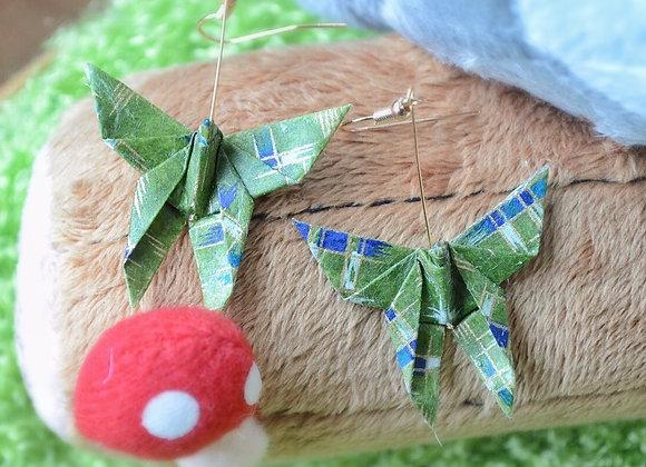 Green Origami Butterfly Earrings