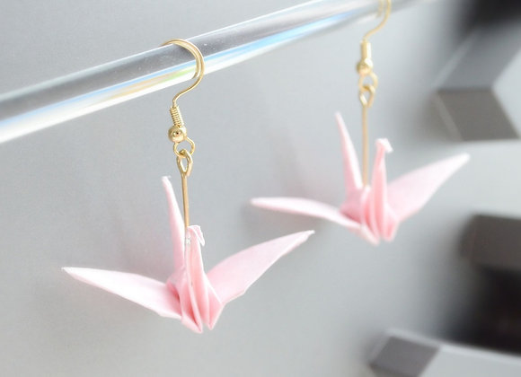 Pink Blossom Origami Crane Earrings
