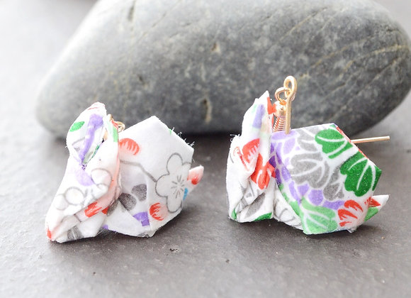White Origami Rabbit Earrings