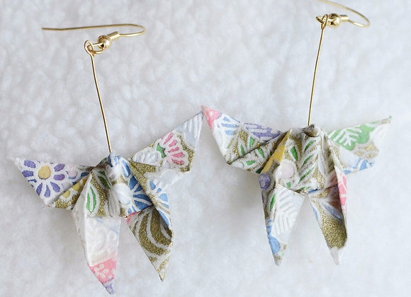 Gold Origami Butterfly Earrings