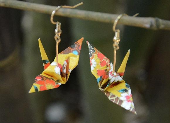 Loyal Yellow Origami Crane Earrings