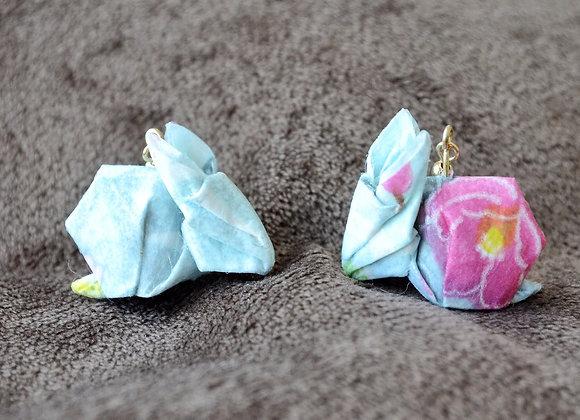 Sky-Blue Origami Rabbit Earrings