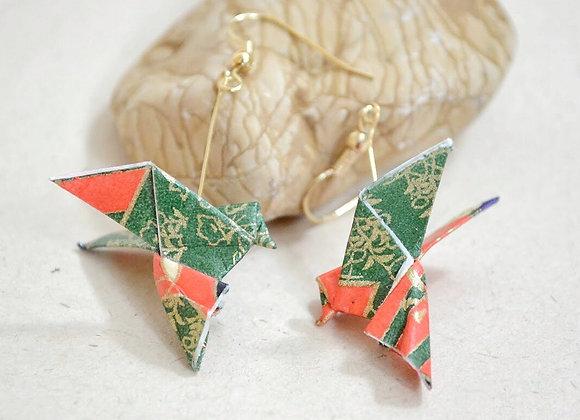 Red-Green Origami Songbird Earrings
