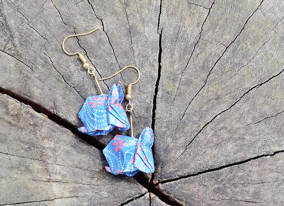 Lapis-Blue Origami Rabbit Earrings